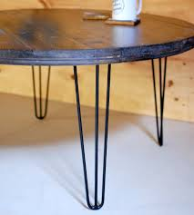 Round Table Coffee Reclaimed Wood Round Coffee Table With Hairpin Legs Home