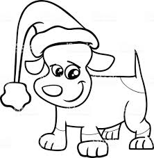 Pup Op Kerstmis Kleurplaten Pagina Stockvectorkunst En Meer Beelden