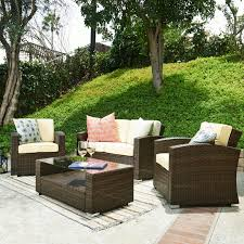 abbyson brooke outdoor wicker 4 piece patio conversation set