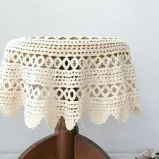 decoration vintage granny round crochet tablecloth off white hand bedside table covers