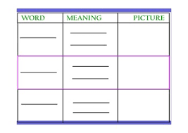 Vocabulary Chart Pdf Vocabulary Template Fill In With Your Words Pdf
