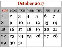 october 2017 calendar printable template with holidays dates