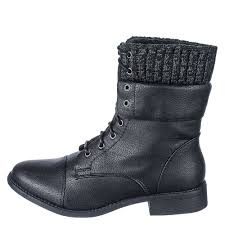 leather combat boot na