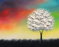 textured white tree painting black and white art colorful original oil painting rainbow landscape painting modern canvas wall art 8x10
