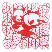 23 23 Cm David Panda Paper Cut Paper Cutting Art Designs Handmade Set Of 4