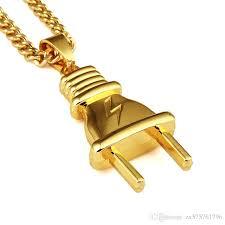 whole new personalized fashion design hip hop jewelry men plug pendant necklaces 18k gold plated link chains punk rock micro men long 75cm chain black