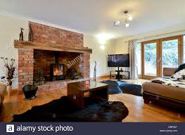Wood Stove Living Room Design Contemporary Lounge With Wood Burning Stove Stock Photo Royalty