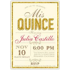 Quincenera Invitations Faux Glitter Border Typography Quinceanera Invitations
