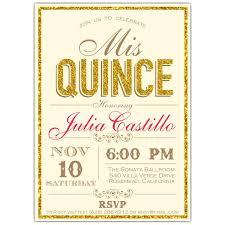 Invitation Quincenera Faux Glitter Border Typography Quinceanera Invitations