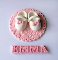 Fondant Baby Shower Christening Cake Topper Set Baby Shoe And Name