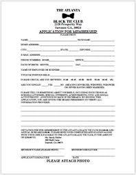 Application For Membership Membership Application Atlanta Black Tie Club