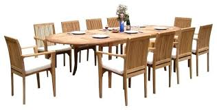 13 piece dining set piece outdoor teak dining set oval table stacking 13 piece dining set