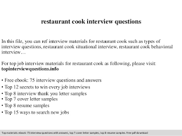 restaurant cook interview questions In this file, you can ref interview  materials for restaurant cook ...