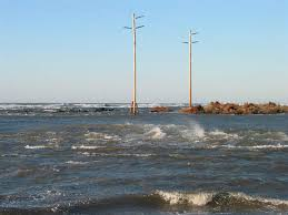 Photograph Illustrating High Velocity Tidal Currents Wind