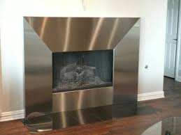 stainless steel fireplace surround beveled detail