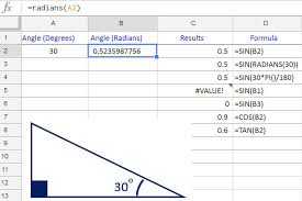 find the sine cosine and tangent of angles in google spreadsheets