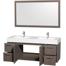 Amare WallMounted Double Bathroom Vanity Set With Integrated - Oak bathroom vanity cabinets