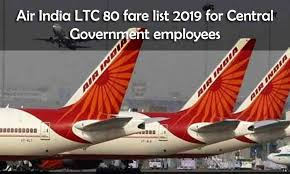 Air India Ltc 80 Fare List From November 2019 For Central