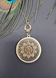 locket necklace vintage antique brass