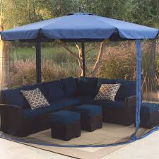 patio ft cantilever umbrella:  ft cantilever crank lift patio umbrella in blue with removable netting