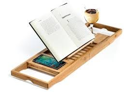 natural bamboo bathtub caddy tray organizer with book tablet phone wineglass holder