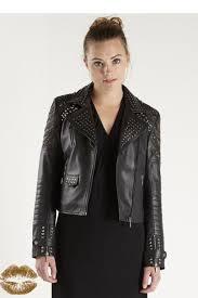 nu denmark studded leather jacket front cropped image