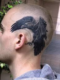татуировка на голове у парня ворон фото рисунки эскизы