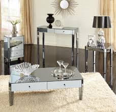 modern rectangle mirrored coffee table with white drawer and round tray top on white rugs for living room with black ceramic floor tiles ideas
