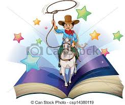 an open book with an image of a cowboy riding on a horse csp14380119