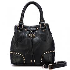 Coach Drawstring In Stud Medium Black Satchels BDO