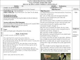 Pe Lesson Plan Physical Education Department Pe Weekly Lesson Plans