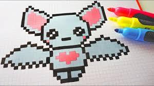 Handmade Pixel Art How To Draw A Cute Bat Pixelart Halloween