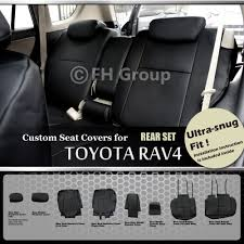 fh group 2006 2010 toyota rav4 leather black customized seat covers rear set 0