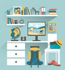 office book shelf. Office Workplace With Computer And Book Shelves. Traveler Office. Flat Design Vector Illustration. Shelf E
