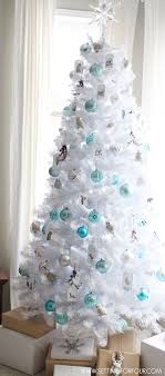 White Blue Tree Decor Decorating Ideas in White Christmas Tree Decorations