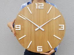 large wall clock rustic oak wall clock natural wood white numbers gloss wood wall clock wood clock 19 inch