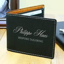 engraved soft black leatherette wallet personalized leatherette wallets custom engraved wallets