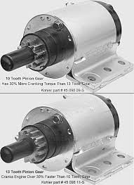 electrical solutions for small engines and garden pulling tractors are below starter gear starter motors for kohler k series engine models k241 k301 k321 k341 and k361 12 volt each have 20% more wire windings than