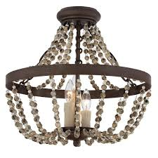 Semi Flush Foyer Lighting Rustic French Country Beaded Ceiling Light Convertible