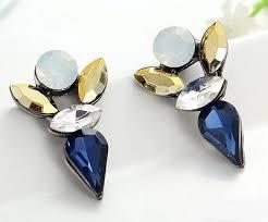 j crew factory cobalt navy blue gold faceted crystal deer stud earrings nwd