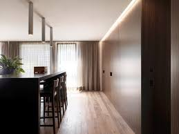 wood floor and panels in modern kitchen design