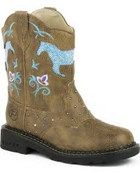 Roper Toddler Girls Turquoise Glitter Horse Light Up Cowgirl Boot Round Toe Tan