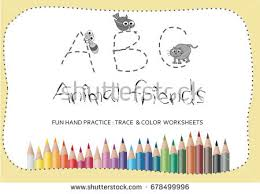 alphabet practice paper z alphabet tracing worksheetscartoon coloring book stock vector