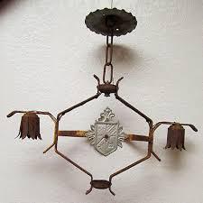 vintage 1920s spanish art nouveau wrought iron chandelier light cast antique old
