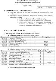 Study Plan For The Master Degree In Industrial Engineering