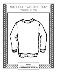 Coloring Page For National Sweater Day Thegreengracie