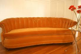 Furniture Used Vintage Orange Velvet Fabric Couch For Sale