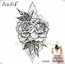 Baofuli сексуальный перо черная роза татуировка поддельные цветок бабочка временные