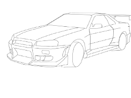 Nissan skyline drawing nissan skyline drawings easy sketch coloring page nissan skyline