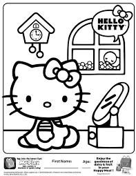 Mcdonalds Happy Meal Coloring Page Sheet Hello Kitty Kids Time